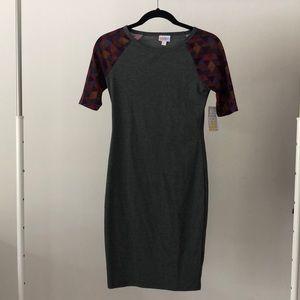 NWT Lularoe Gray Aztec Bodycon  Dress Size XXS